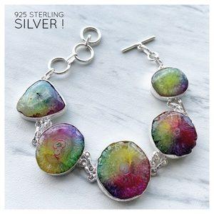 925 Sterling silver rainbow solar quartz bracelet